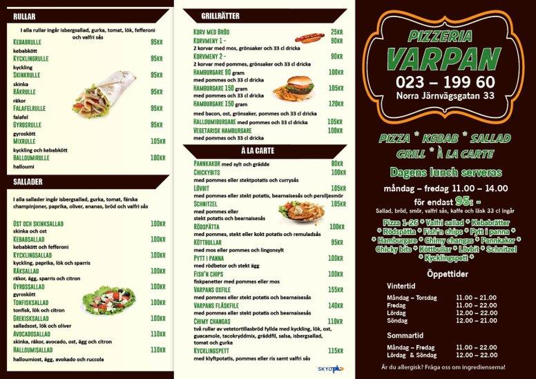 Meny Pizzeria Varpan Falun